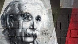 Albert Einstein graffiti on the wall in Opatija Angiolina Park.