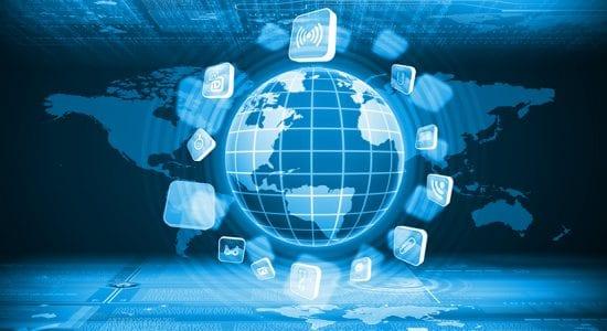 Digitales Bild eines Globus und IT-Symbolen